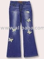 DENIM PANTS WITH EMB./STONE