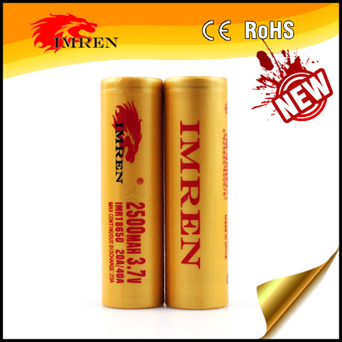 IMREN 18650 2500mah 40a Li-Mn battery,imren 40 amp 18650 for flashlight E-cigs/Vaping Mods