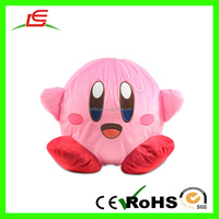 LE High Quanlity 20cm super soft round toy pink plush doll balloon with red foot