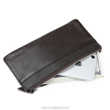 Soft Cowhide Genuine Leather Wallet for Man, Cellphone Zipper Wallet
