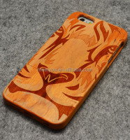 Laser engrave wood phone cover cool Tiger face shape custom cell phone wood case for iphone 4 4S