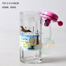 Decal Paper Glass Beer Mug With Handle Cap