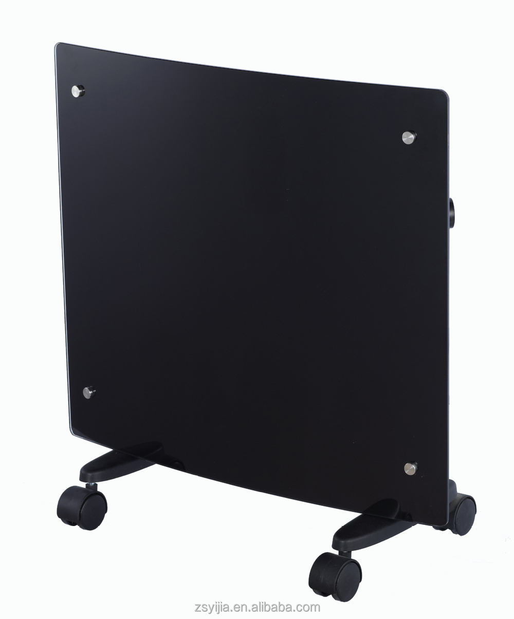 Portable Freestanding Cambered curved Electrical Black Glass Panel Convector Heater
