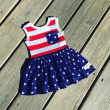 Hot selling red strips baby skirt 4th of July cute children girls boutique dress