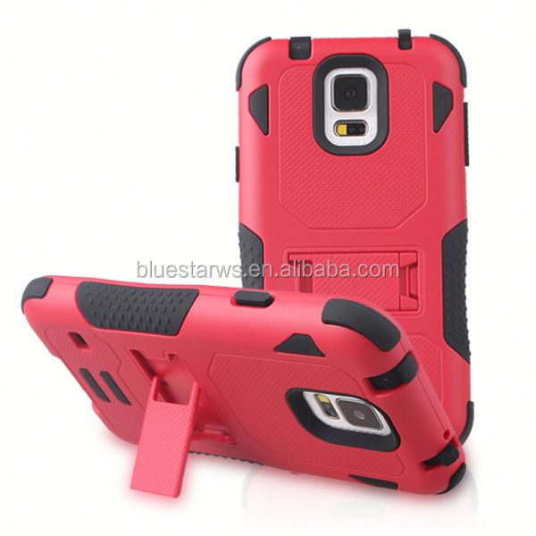 Direct factory price pc silicon case for samsung s5 hybird with t-shape cell phone case