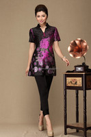 Fashionable lotus flower printed summer dress for fat women many colors pleated dresses