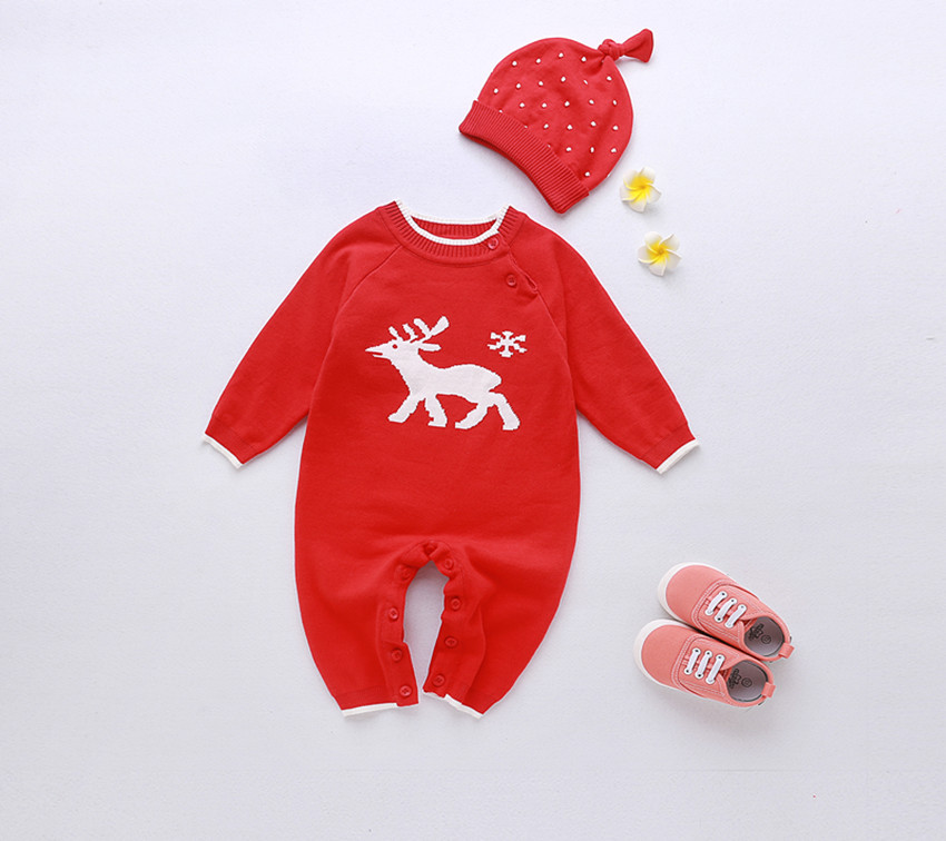 B21863A Infant lovely cartoon knitting rompers baby red rompers