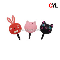 Cute animal dust plug for cell phone , Cell phone dust plug , PVC dust plug for iphone