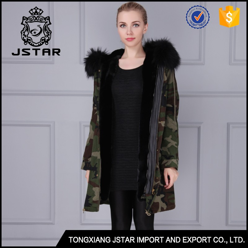 China supplier custom ladies hooded fur coat for Winter