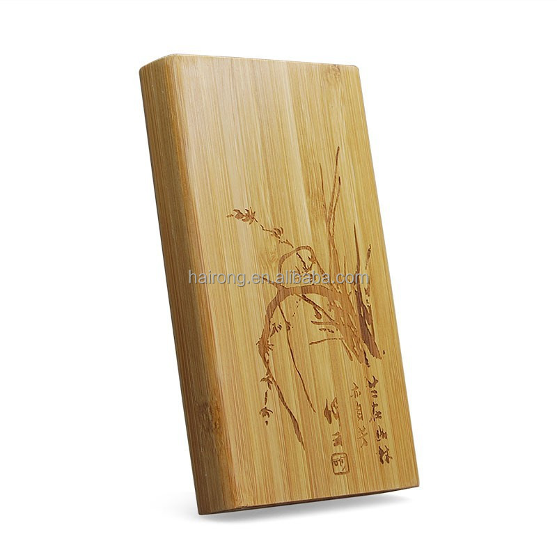 Hairong innovative new products mini portable bamboo power bank charger, bamboo charger, bamboo phone charger