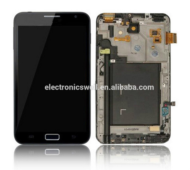 Low price 100% new LCD screen with digitizer touch panel, LCD assembly with frame for Samsung Galaxy Note n7000 i9220
