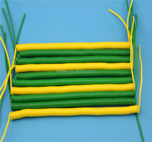 Spiral wire custom processing 3 core yellow green shield drain wire coiled cable