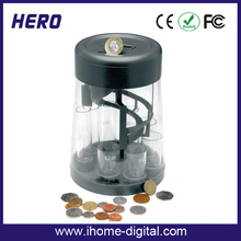New design OEM/ODM promotional round plastic coin bank digital money safe box with sorter function