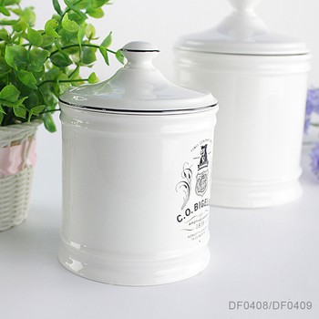 Porcelain tableware canister set Gifts and crafts storage containers white ceramic tea canister set