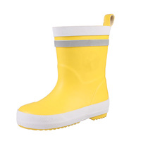 Cheap promotional price solid color calf half custom logo imprinted soft pvc transparent plain yellow rain boots for kids