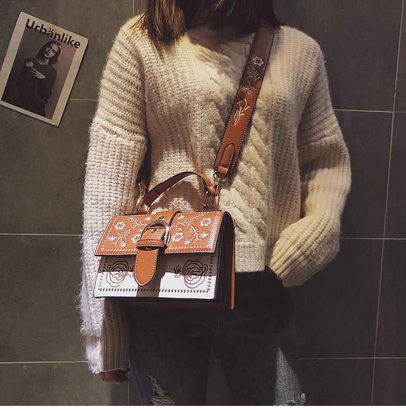 Toposhine Fashion Women Bag Panelled Vintage Flower Girls Bags for Girls Black PU Leather Women Messenger Bags Drop Shipping 4