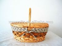 fabric linen wicker picnic basket