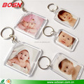 Popular clear transparent acrylic photo keychain lucite perspex blank charm