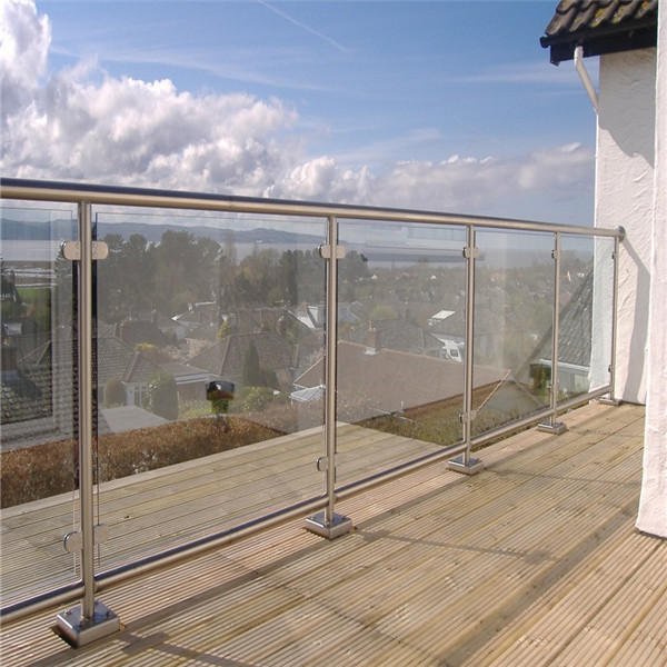 Fashion balcony glass with galvanized stair handrail pipe