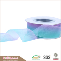 High quality wholesale colorful decorative gift packing organza ribbon