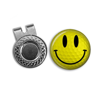 fashion smile enamel magnet golf hat clips with ball