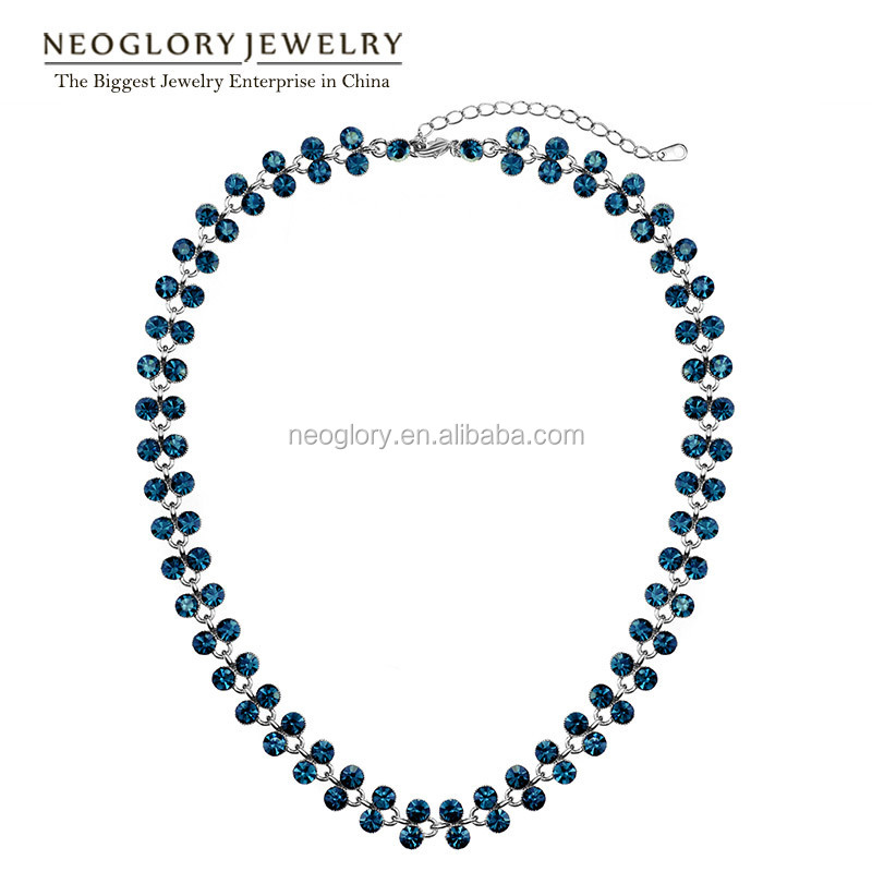 Alloy Platinum Plated Beads Blue Necklaces Fashion Jewelry For Women 2015 New Elegant Made With Swarovski Elements