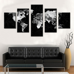 5 Pcs/Set Abstract World Map Canvas Prints Painting Modern Notes Symbos Black Maps Wall Art for Office Room Decor Picture