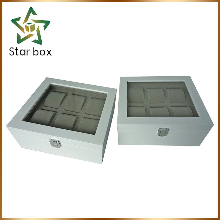 white piano lacquer watch case manufacturer, watch showcase wood material wrist boxes