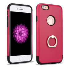 Newest design red color pc and tpu with metal ring back cover for iPhone 6 6s