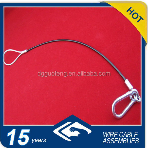 protection steel wire rope for dragging with carabiners