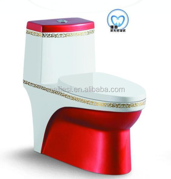 Color plated cheap one piece toilet WC dual type siphonic double hole european dual flush toilet elegant design one piece toilet