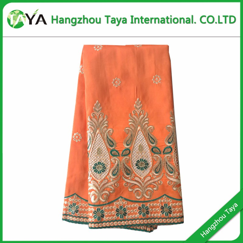 P333 Orange color african george fabric george raw silk george lace