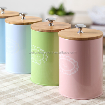 Popular metal canister kitchen sugar coffee tea canister sets bamboo canister with bamboo lid