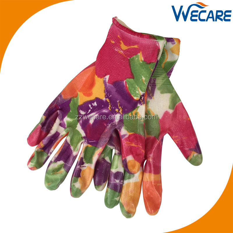Ladies Garden Work Nitrile Dipped Colored Printed Thorn Proof Rose Pruning Gloves