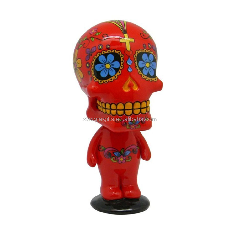 Red Sugar Skull Man Mexican Day of the Dead Bobble Head Figurine