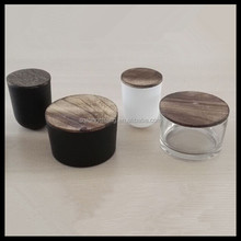 luxury black frosted glass candle holder /candle container with wooden lid