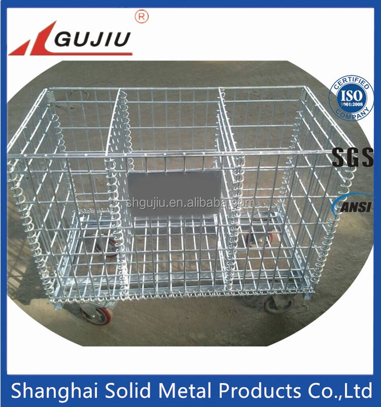 Mesh box wire cage metal bin storage container on wheels for sale