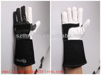 Natural color goat leather palm,black goat leather back ,cow split leather cuff ,comfortable welding safety working gloves