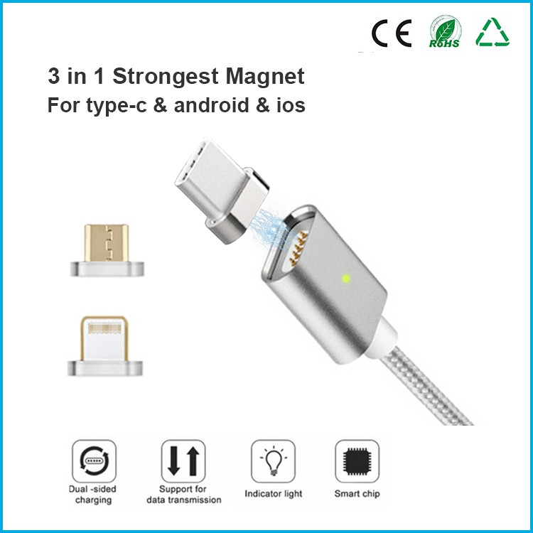 Magnetic Micro Usb Cable Charger 3 In 1 Magnetic Charging Cable Type C For Iphone