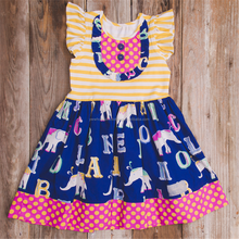 2018 children frocks designs for spring summer girl elephant prints flutter sleeve dress for back to school