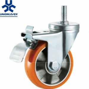 100mm Medium Duty Double Ball Bearing Aluminum Core PU caster Threaded stem caster with Brakes