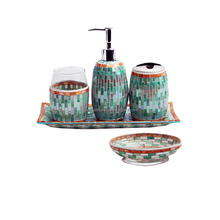 hotel shell glass mosaic bathroom accessories set