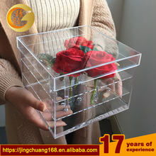 Luxury plexiglass stand mirror display crystal preserved rose clear wholesale acrylic flowers box