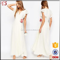 China factory OEM white chiffon maxi dress wedding dress 2016