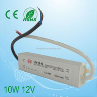 Aluminum shell for waterproof Constant Current led driver 10w 12v led power supply 3 years warranty
