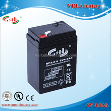 Maintenance free 6V 4Ah rechargeable lead acid battery