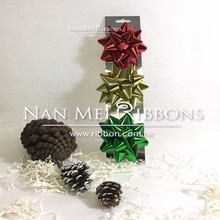 "3pcs Star Bow Christmas Card Set 3"" Inch 75mm diameter Metallic PP Plastic Star Bow Gift Wrapping decorative"