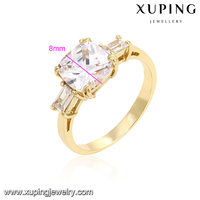 14373-xuping emerald cut diamond ring 14k latest gold flower diamond rings jewelry engagement rings