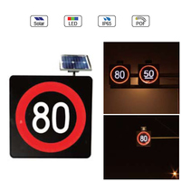 Waterproof IP65 Solar Powered(Charging) Traffic LED & Optical Fiber Sign Light (Velocity Limit 80Km Sign)