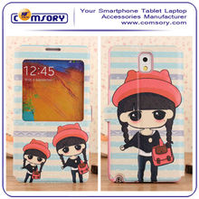 For SAMSUNG Galaxy Note 3 N9000 Cartoon lovely girl Leather case with window and stand